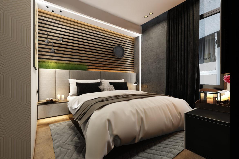 Кровать в спальню в современном стиле.